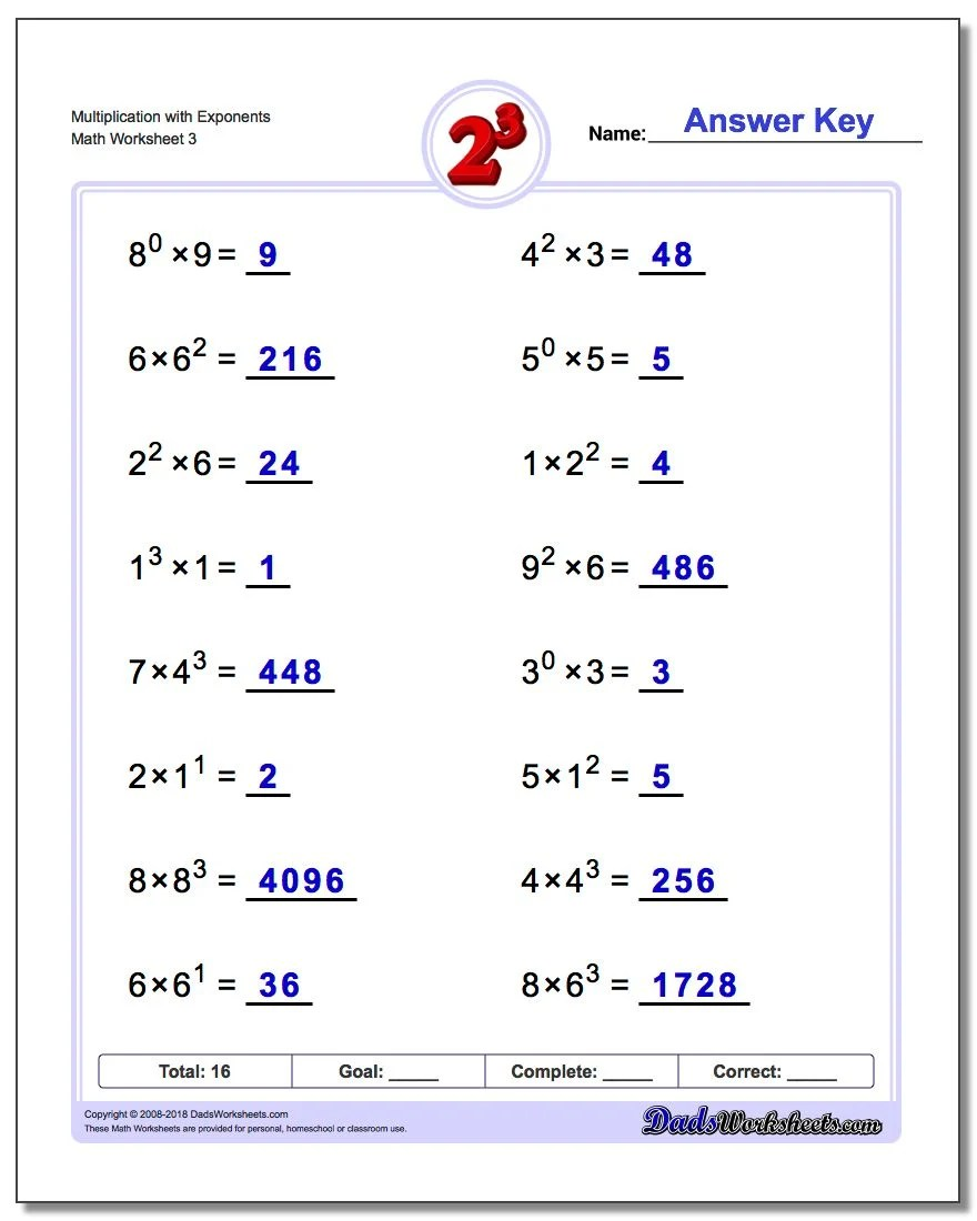 Multiplication With Exponents