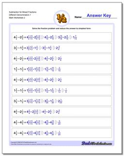 Adding And Subtracting Mixed Numbers Worksheet With