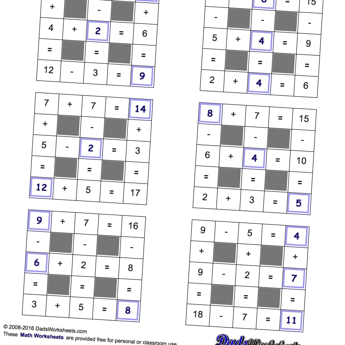 Math Worksheets Grid Puzzles Addition And Subtraction
