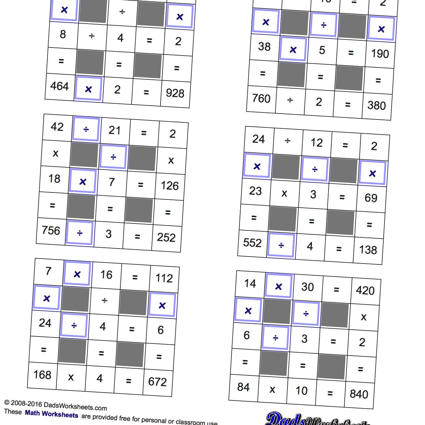 Math Worksheets Multiplication And Division With Missing