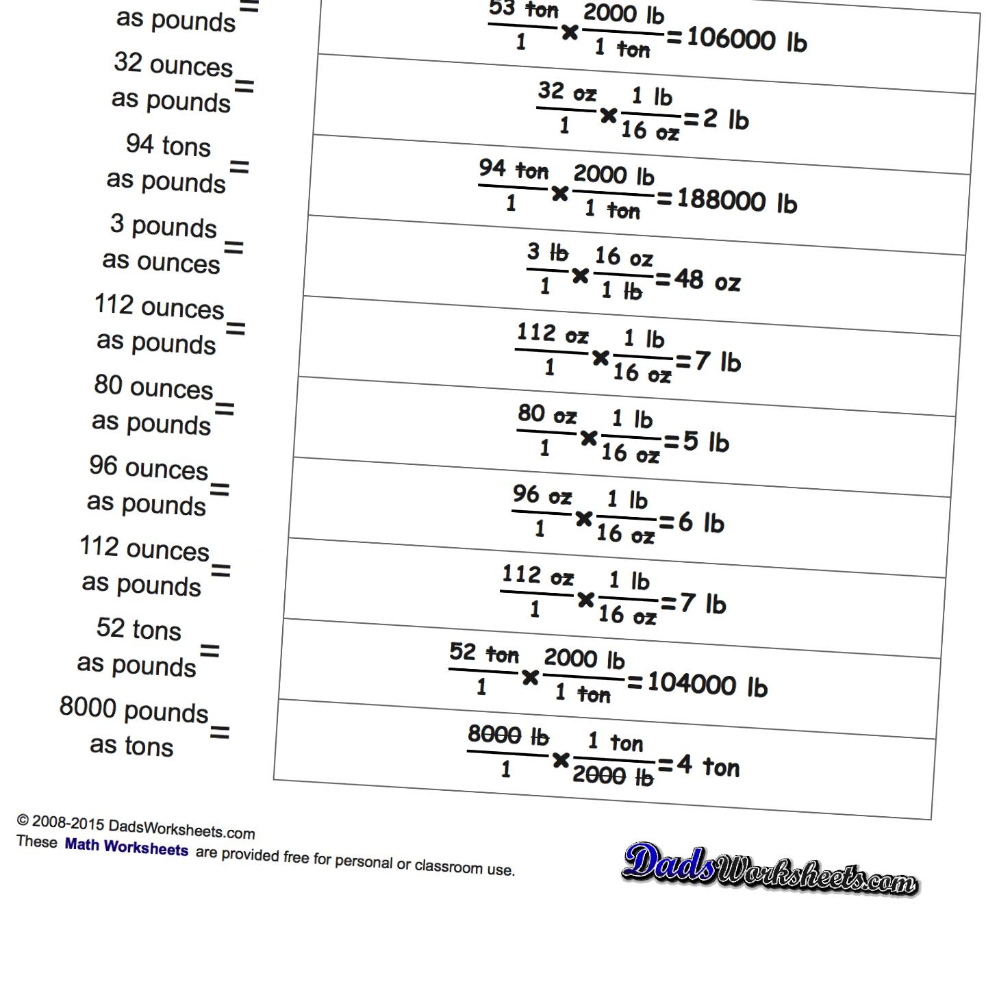 Math Worksheets: Imperial Unit Conversions