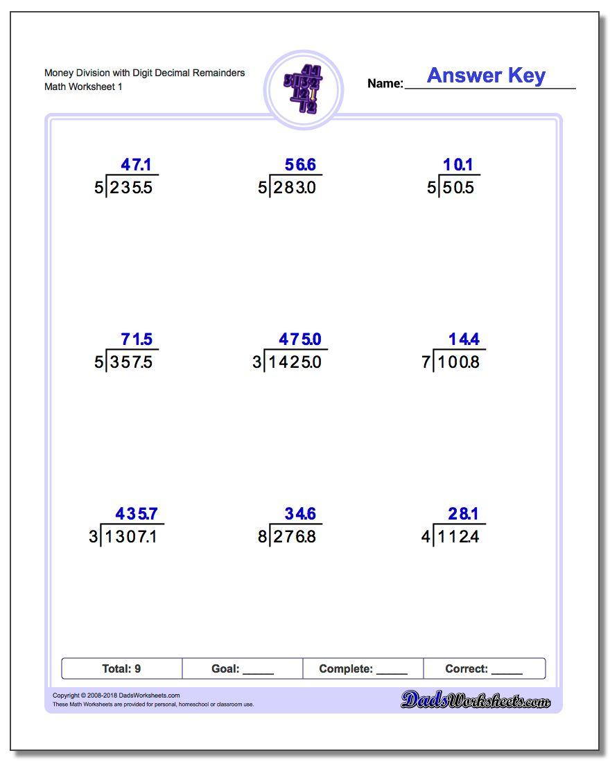 Decimal Division Word Problems For 5th Grade - Free Worksheet