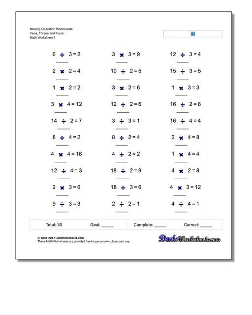 Multiplication And Division Missing Operation Worksheets