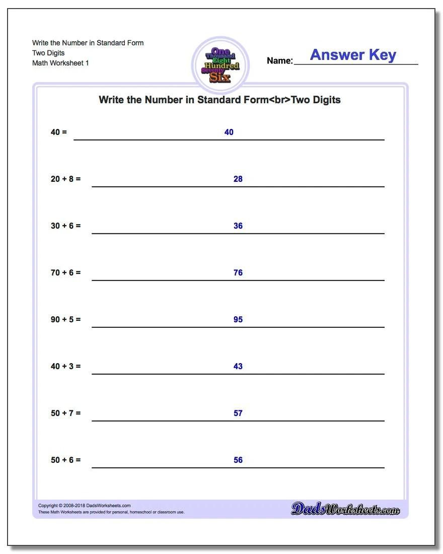 Form Math Writing Standard