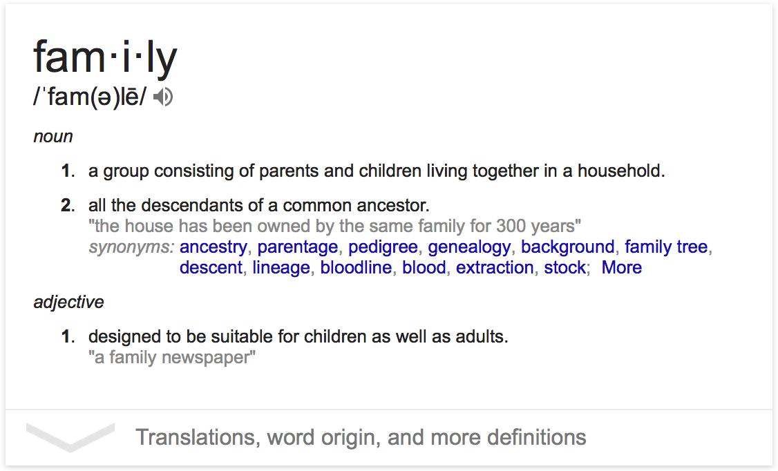 the definition of a family Definition of family in zoning law and building codes an appropriate definition of family is basic to density and use prescriptions of zoning laws and to the applicability of building code laws.