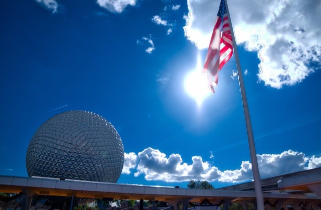 HDR Photography - Epcot Sun with American Flag
