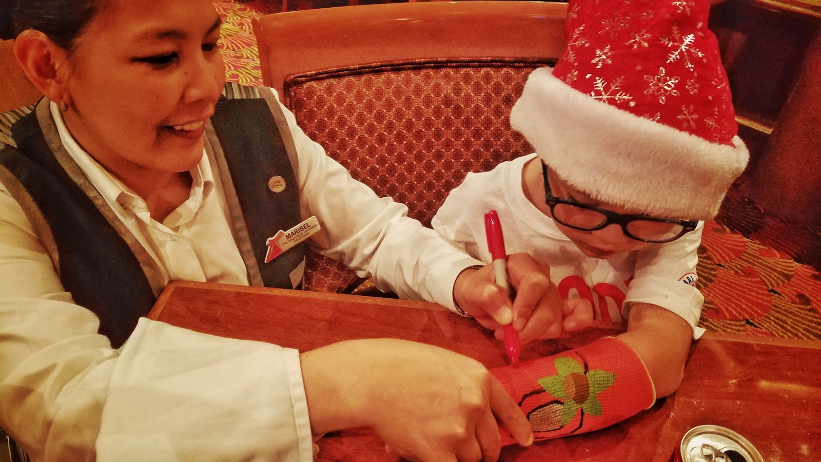 Carnival Liberty Review - Maribel Signs My Son's Cast
