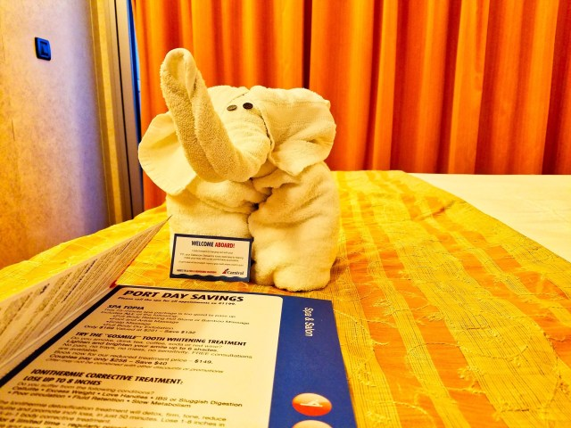 Carnival Liberty Balcony Stateroom - First Day Elephant Towel Animal