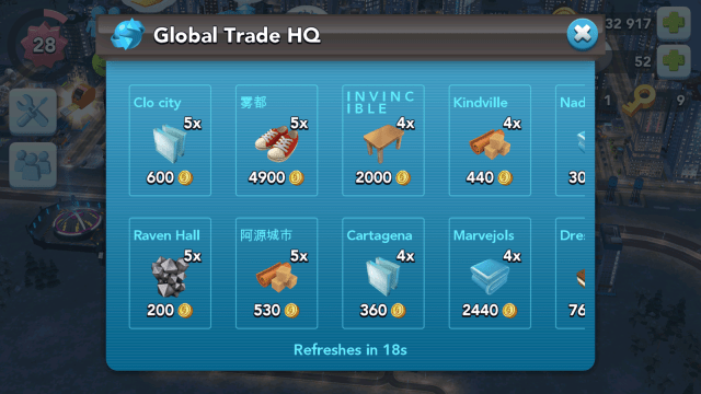 SimCity BuildIt Global Trade HQ (GTHQ) - Where you can buy and sell items.
