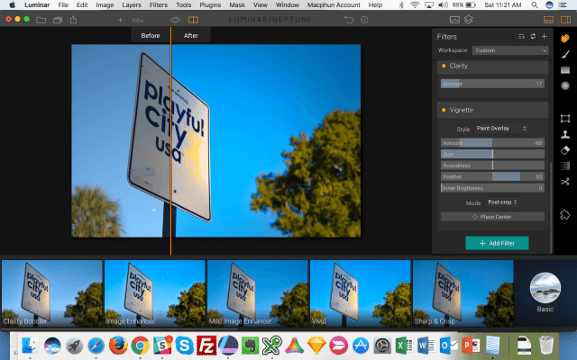 Luminar Before and After - Playful City USA Sign