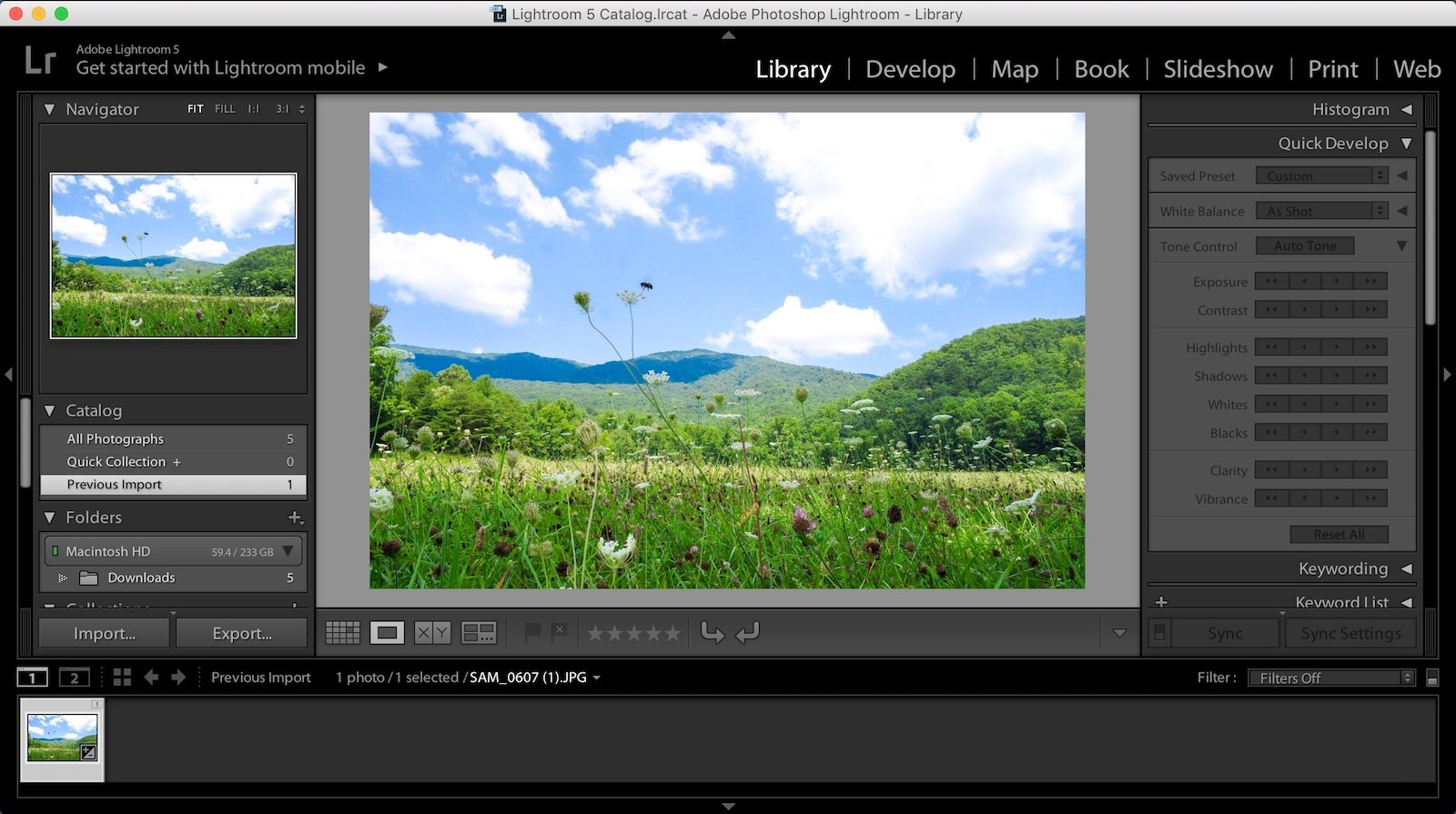 Aurora HDR vs Lightroom - Adobe Lightroom v5.5 User Interface