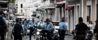 Police awaiting the arrival of a VIP in Old San Juan, San Juan, PR, Spring 2018