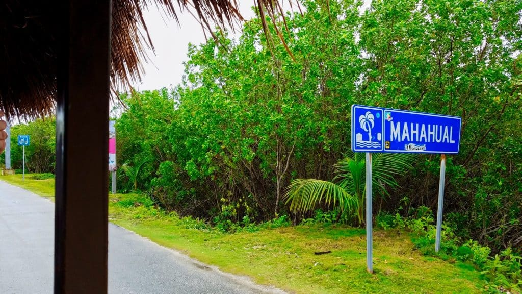 Mahahual Mexico - Passing the Mahahual sign into town.