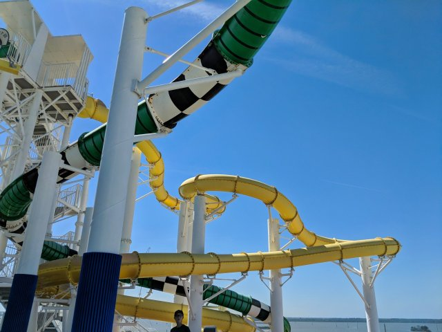 Winding water slides on the Carnival Sunshine Ship