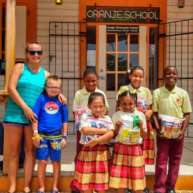 My wife and son with students from Oranje School St Maarten