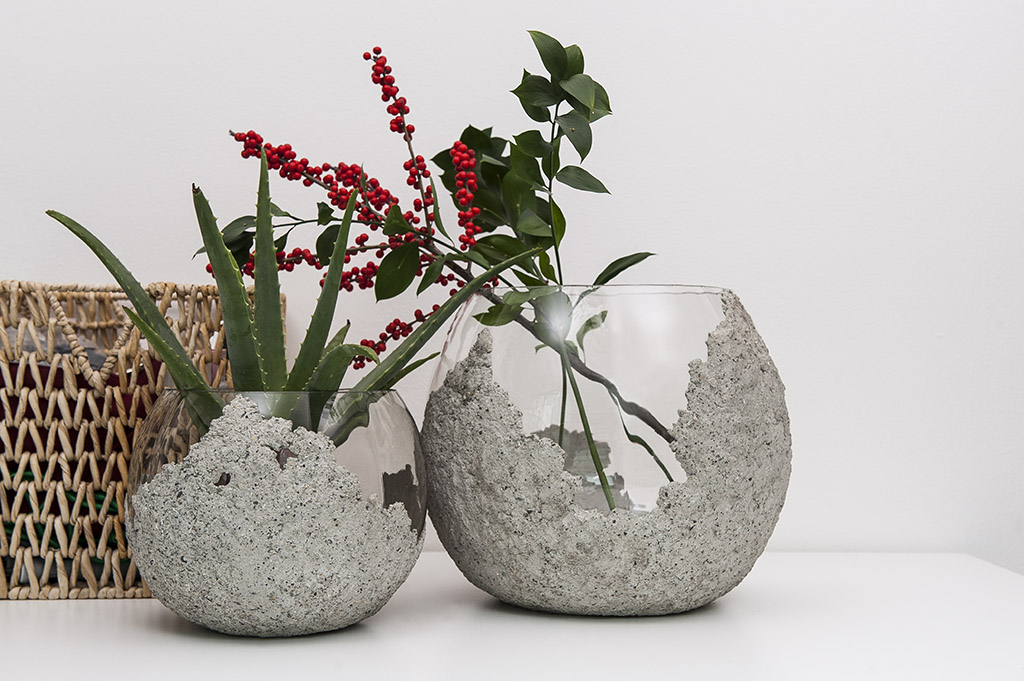 The Other Half Bowl Concrete on Glass Vase Small And Large Image