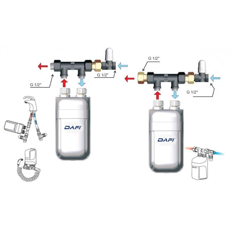 Pequeño calentador de agua bifásica Dafi 11 kW 400 V con