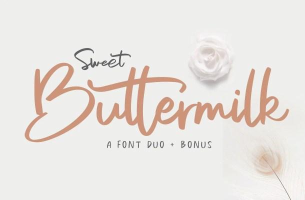 Sweet Buttermilk Font Duo Free