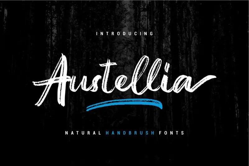 austellia-handbrush-font