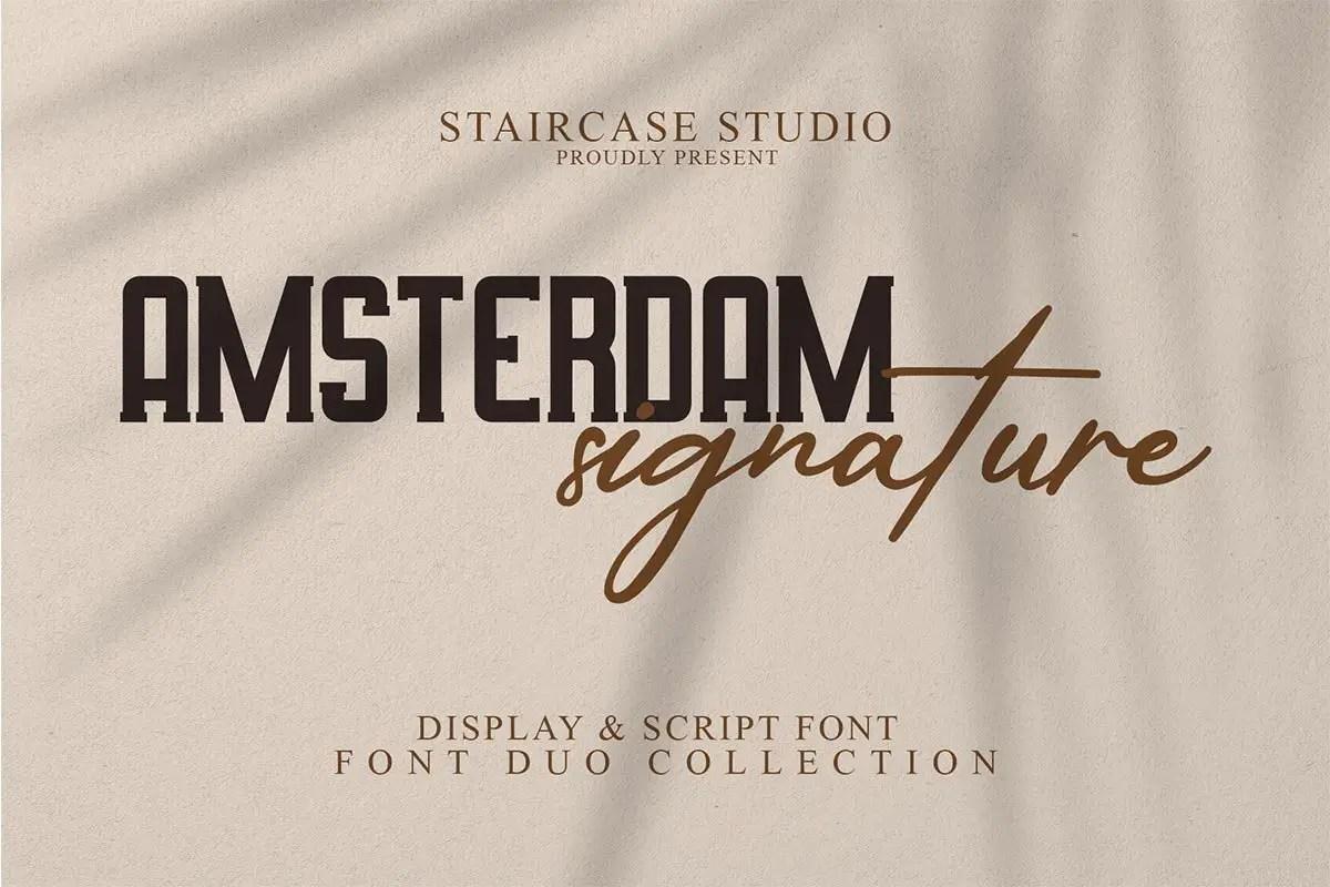Amsterdam Signature Display Script Font Duo-1