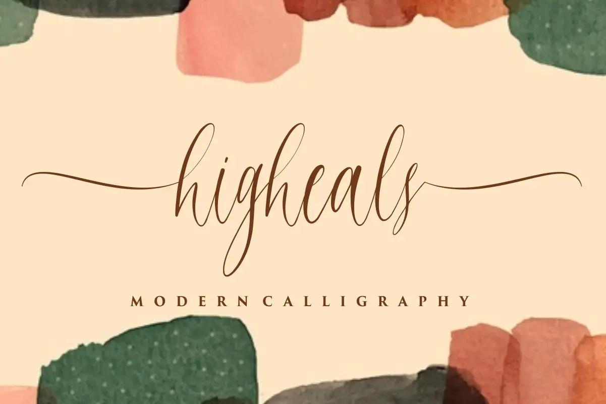 Higheals Calligraphy Script Font-1
