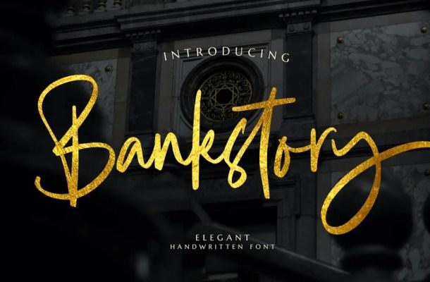 Bankstory Script Handwritten Font