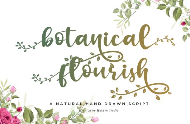 Botanical Flourish Script Calligraphy Font