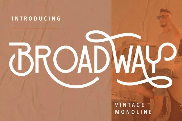 Broadway Vintage Monoline Font -1