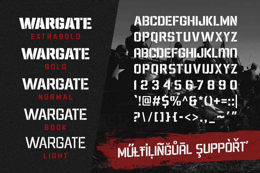Wargate Stencil Font Family -3