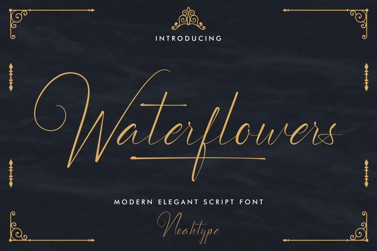 Waterflowers Calligraphy Script Font -1