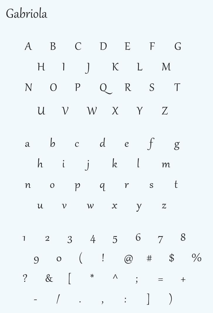 Gabriola Display Typeface -2
