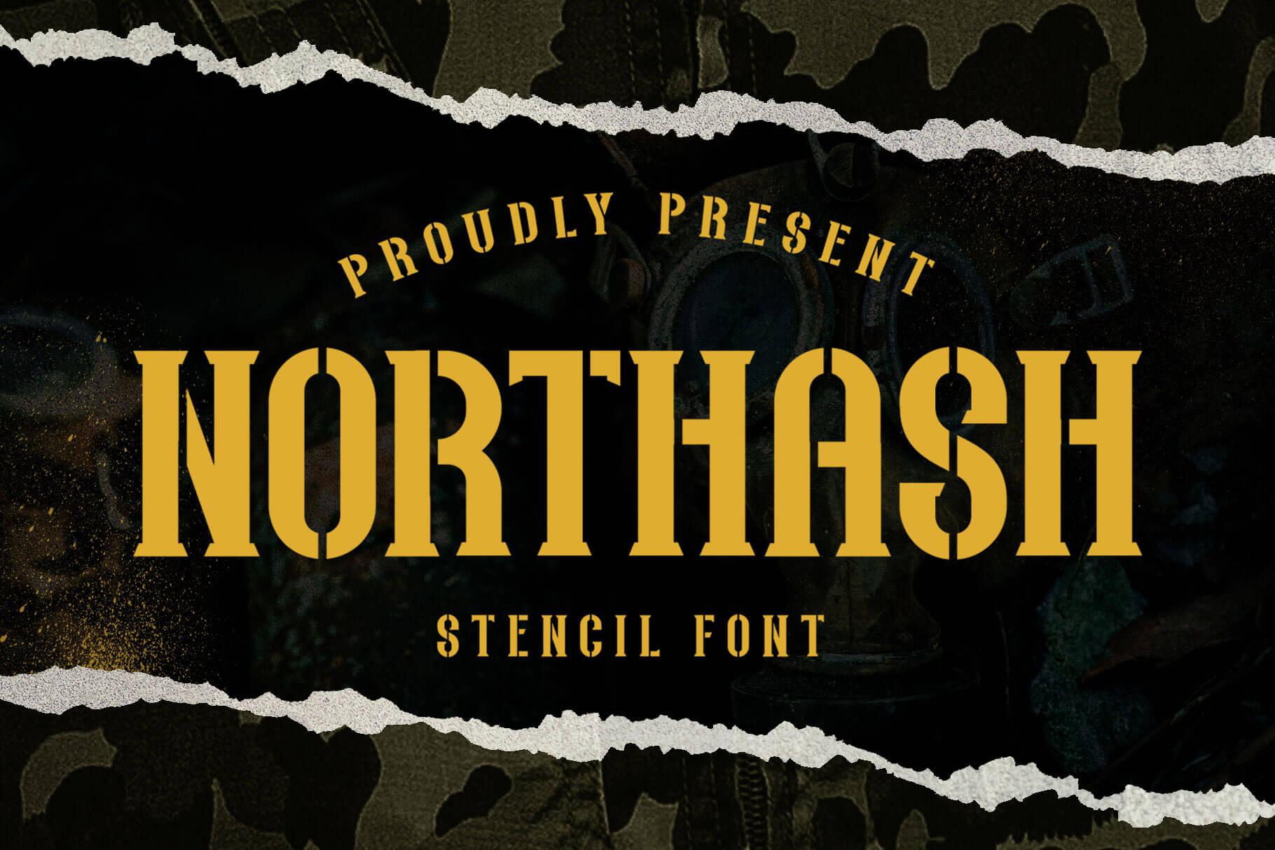 Northash Stencil Vintage Font -1