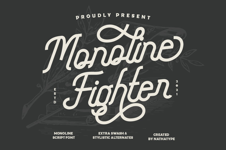 Monoline FighterMonoline Script Font -1