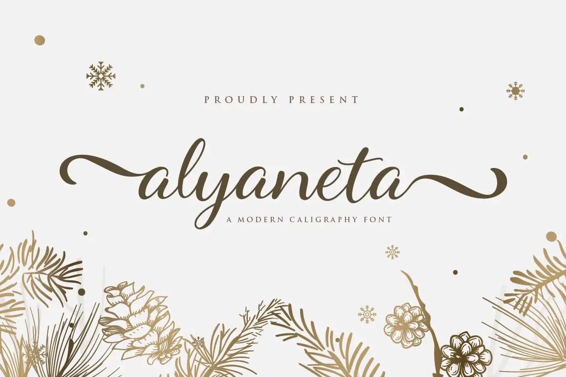 AlyanetaCalligraphy Script Font -1