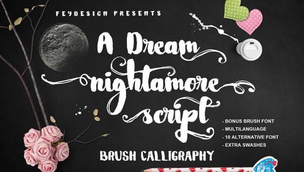 Nightamore Brush Font Free