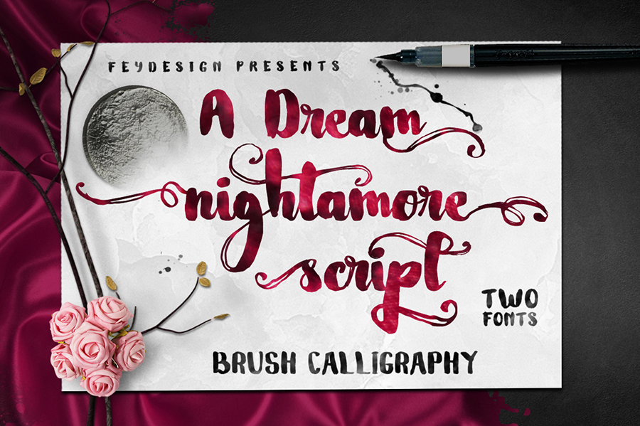 05_Nightamore-Brush-Free-Font