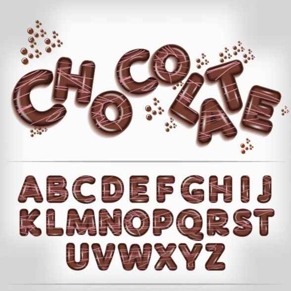 Chocolate-letters-fonts-vector