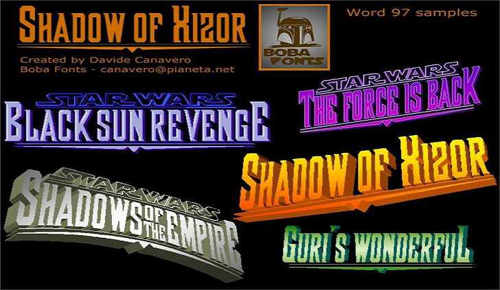 Shadow of Xizor font - Dafont Free