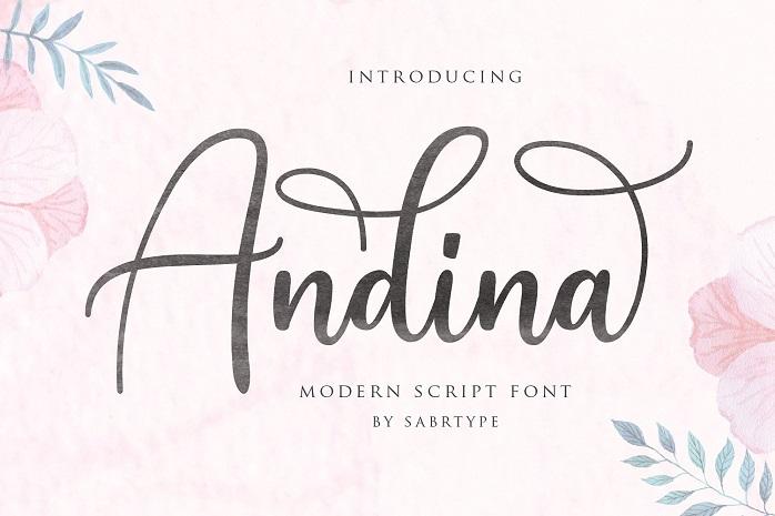 Andina Script Font - Dafont Free