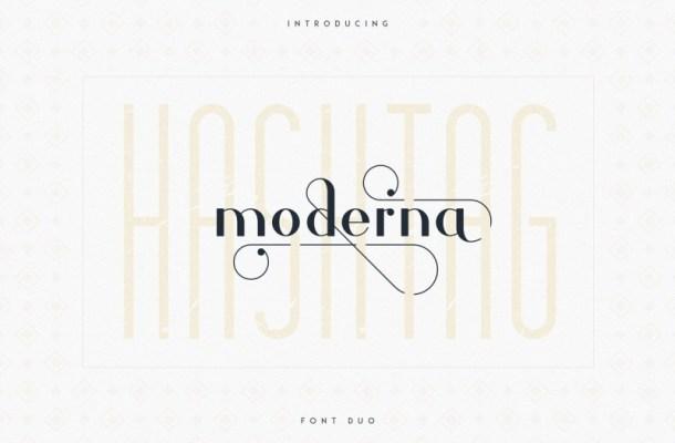 Hashtag Moderna Font Duo