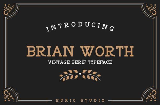BRIAN WORTH Vintage Font