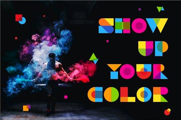 Garis Lengkung Colorful Font-3