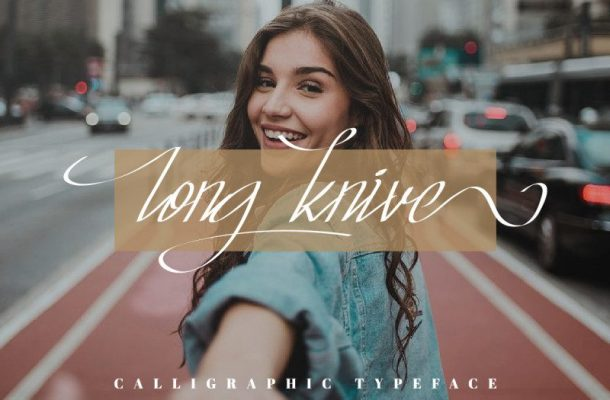 Long Knive Calligraphy Font