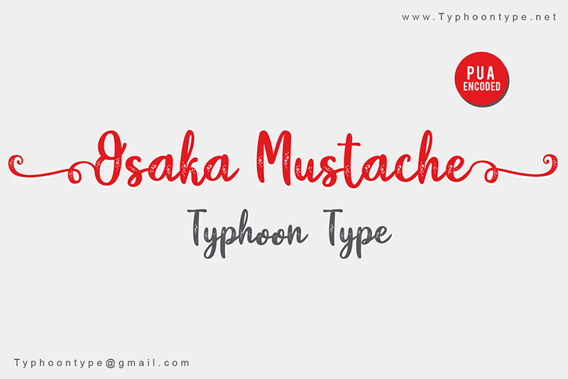 Osaka Mustache Script Font