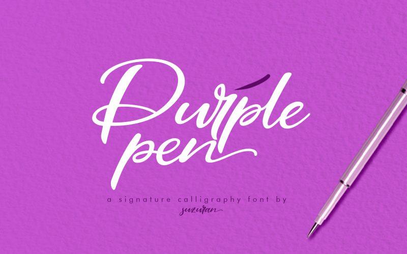 Purple Pen Script Font