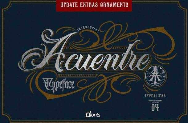Acuentre Typeface (Update-Ornaments)
