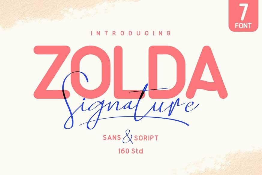 Zolda Script Sans Font Family-1