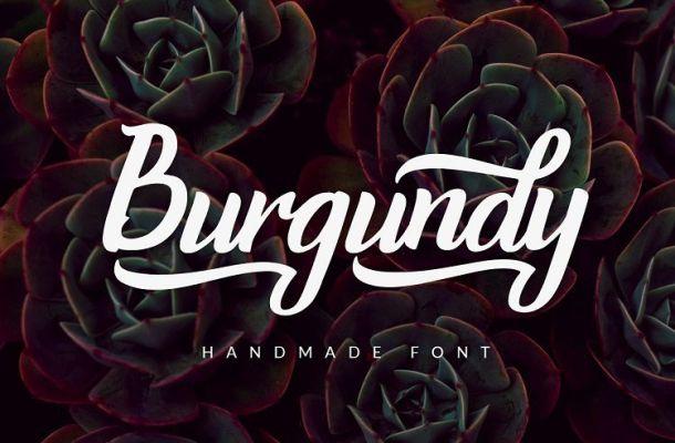 Burgundy Handwritten Font