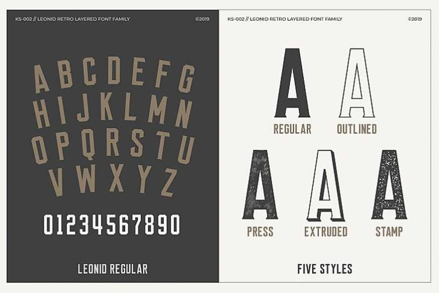 Leonid Retro Layered Font Pack-2