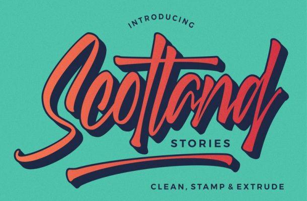 Scotland Stories Script Font